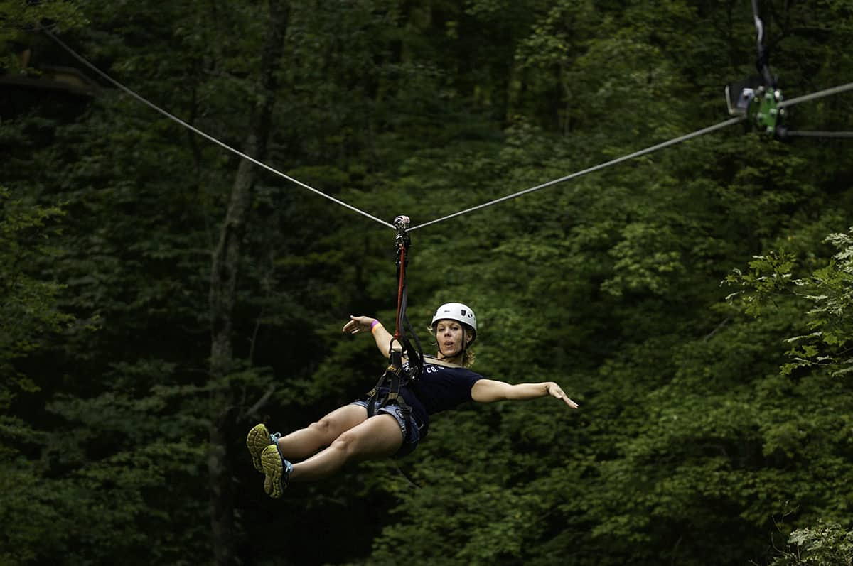 Zip lining in Boone