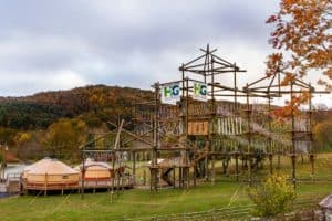 High Gravity Adventures Course with Fall Leaves Boone & Blowing Rock