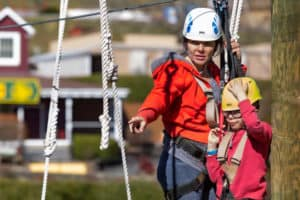 Mom and Daughter in Challenge Course/Aerial Park