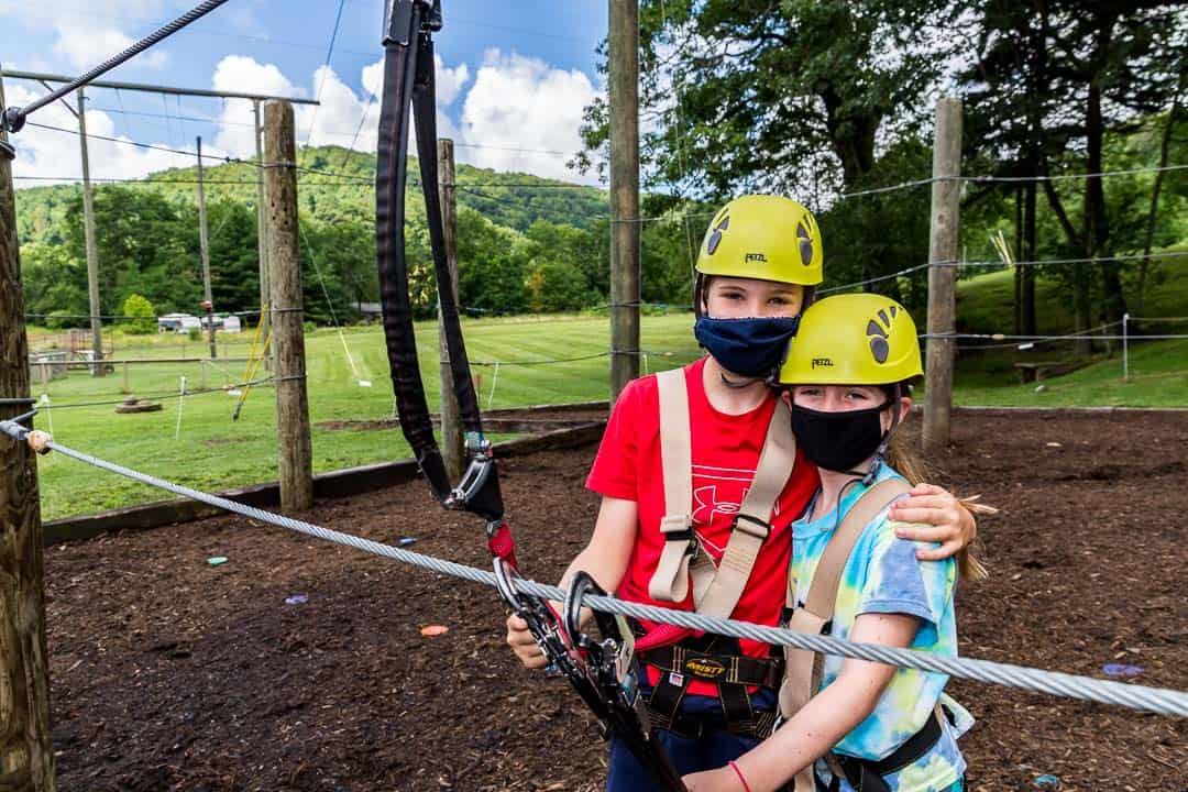 Family/young teens on adventure park course