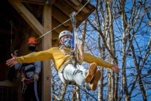 Man excited on zipline